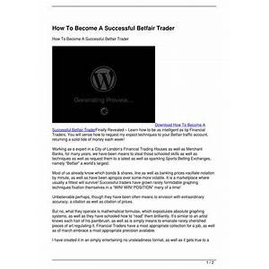 How to become a successful betfair trader online tutorial