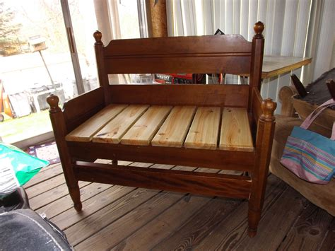 How to build a bench out of a vintage wooden bed Image