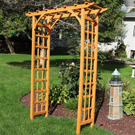 How to build a wooden arch trellis Image