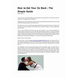 How to get your ex back fast inexpensive