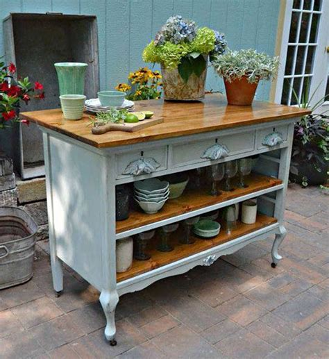 How to make an old dresser into a kitchen island Image