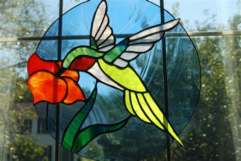 Hummingbird stained glass panel pattern Image