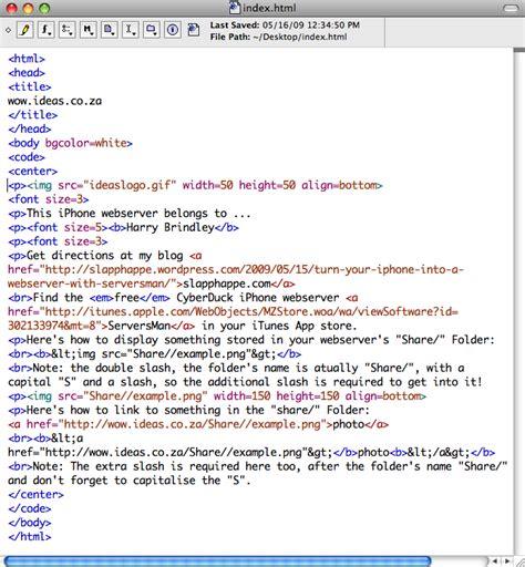 Index html sample file Image