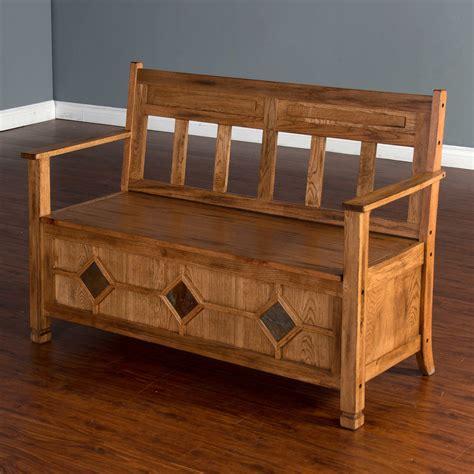 Indoor wooden bench with storage Image
