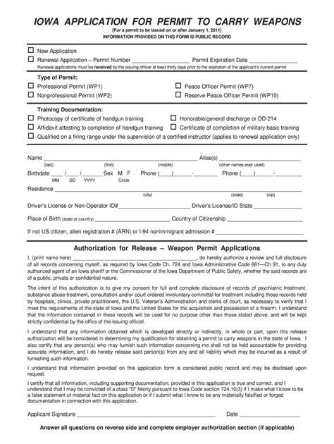 Iowa Handgun Permit Application