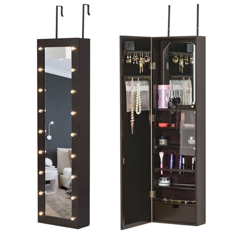 Jewelry cabinet mirror with led lights Image