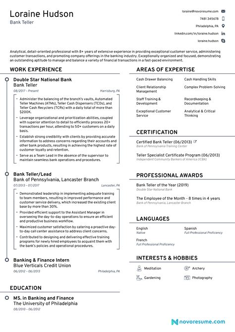 Job Resume Bank Teller Letterhead In Word 2007