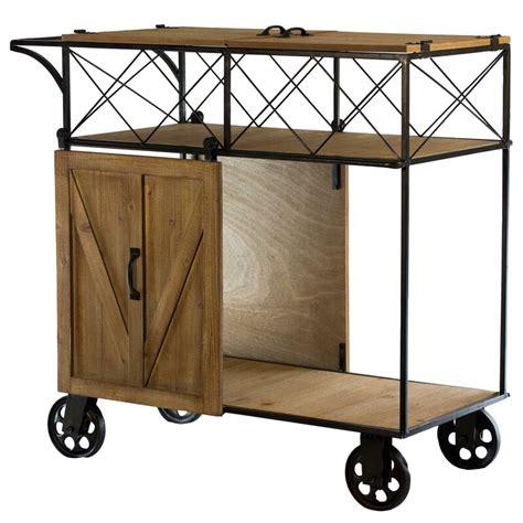 Josiahs Rustic Barn Door Rolling Bar Cart