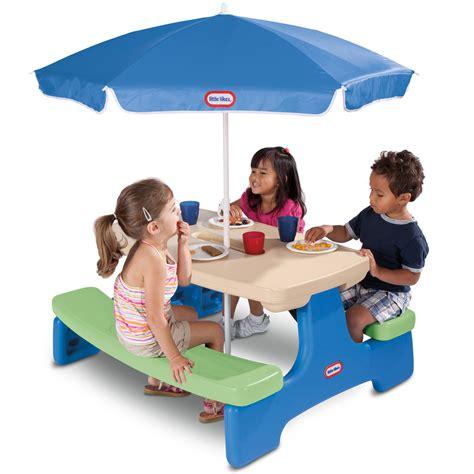 Kids picnic table and umbrella Image