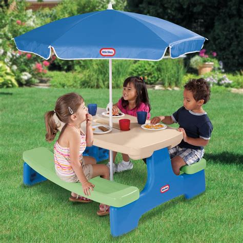 Kids picnic table with umbrella Image