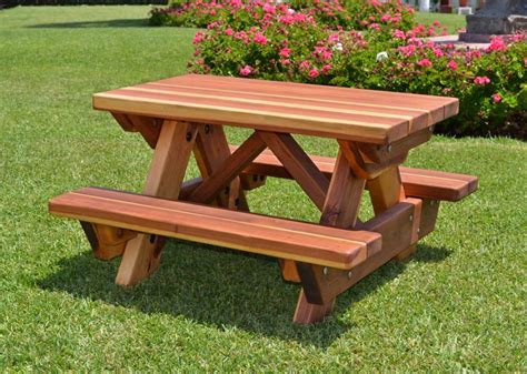 Kids wooden picnic table Image