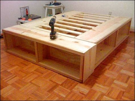 King bed frame with storage plans Image