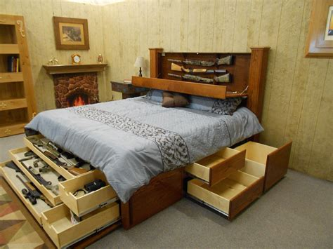 King size bed frame with storage plans Image