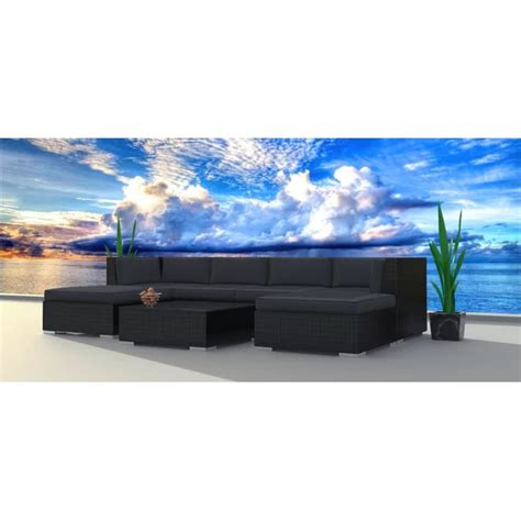 Kirkland 7 Piece Rattan Sectional Seating Group with Cushions