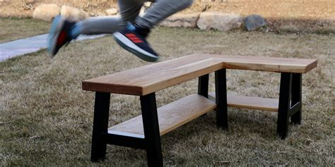 L shaped wooden bench Image
