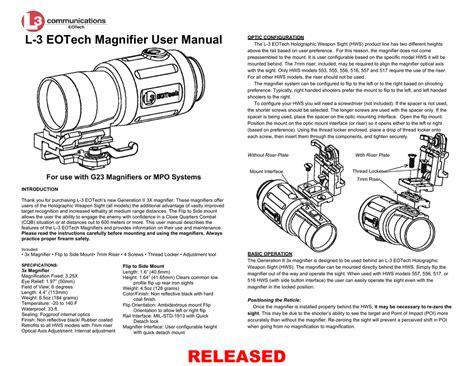 L3 Eotech Magnifier User Manual