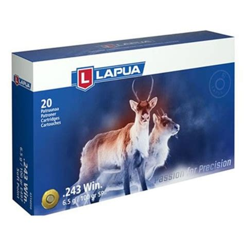 Lapua Soft Point Ammo 243 Winchester 100gr Sp 243 Winchester 100gr Soft Point 20box