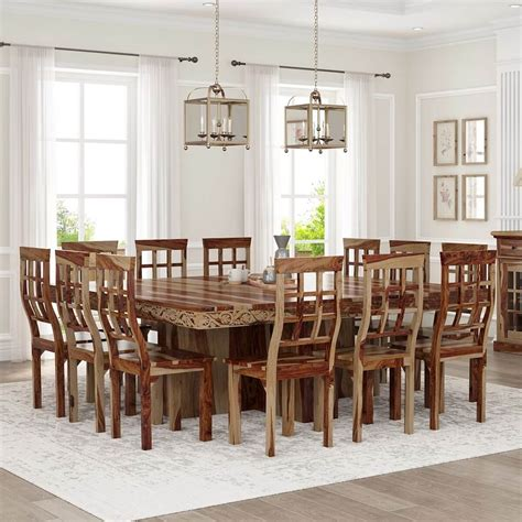 Large wood dining room table Image