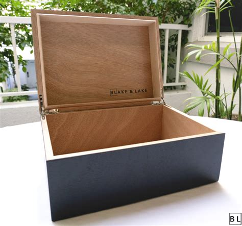 Large wooden box with lid Image