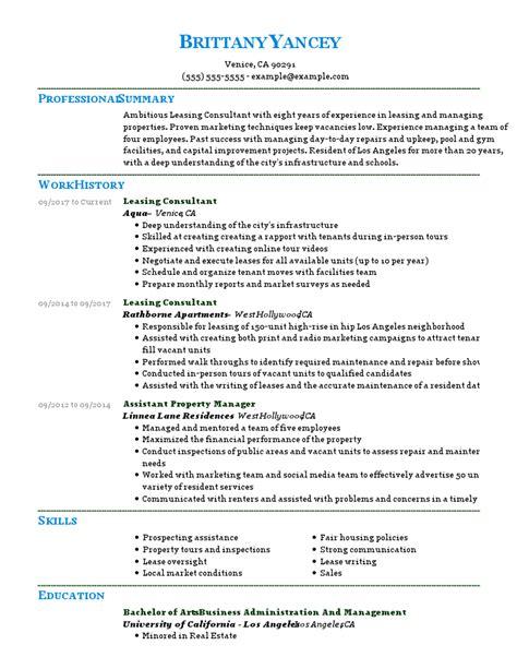 Leasing Consultant Resume Cover Letter | Cover Letter ...