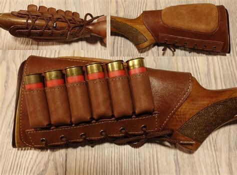 Leather Buttstock Shotgun Shell Holder Pouch And Recoil Pad Screws For A Synthetic Buttstock