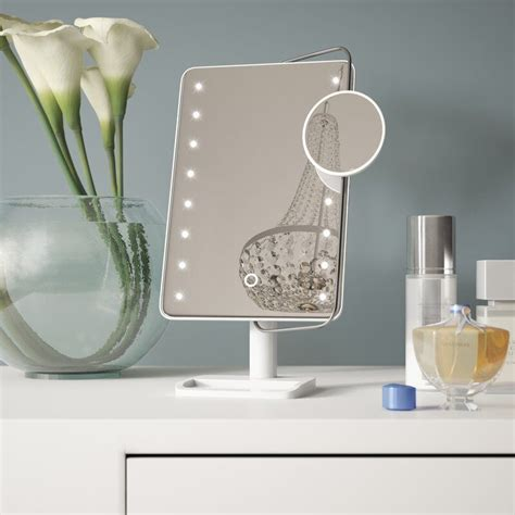 LED Freestanding Makeup Mirror with Tray and Sensor