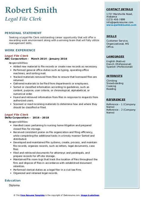 Legal File Clerk Job Resume Sample | Resume Templates Radiology