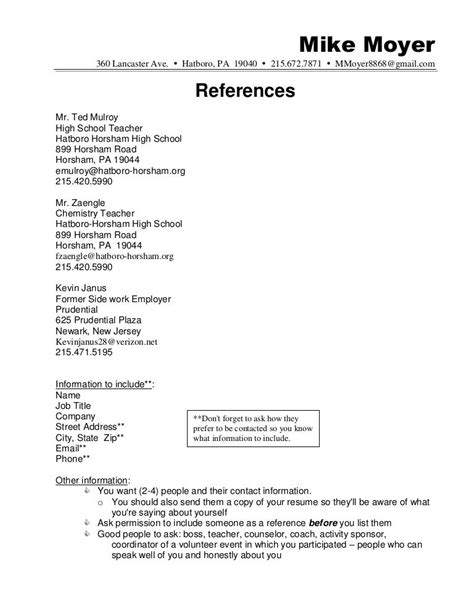Reference List For Resume Template