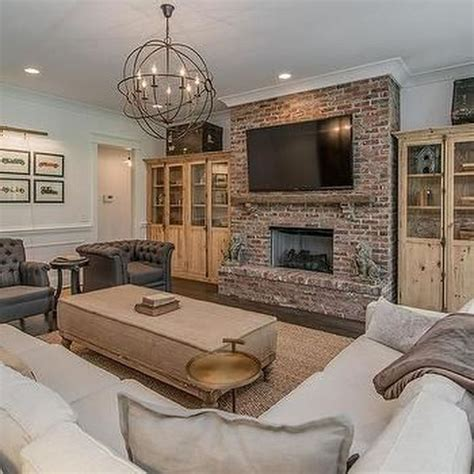 Living Room With Brick Fireplace Decor Ideas