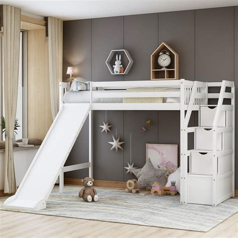 Loft Bed With Stairs And Slide