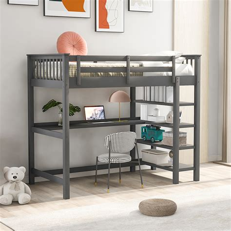 Loft bed with bed underneath Image