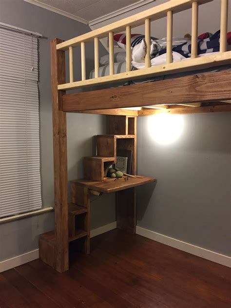 Loft bed with stairs and desk plans Image