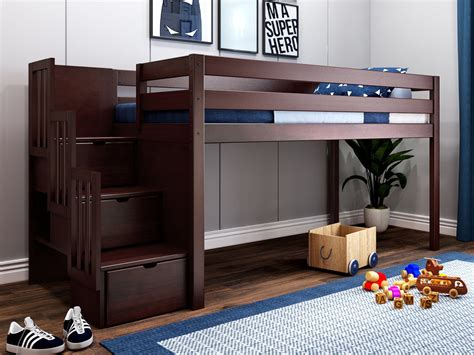 Low Loft Bed With Stairs