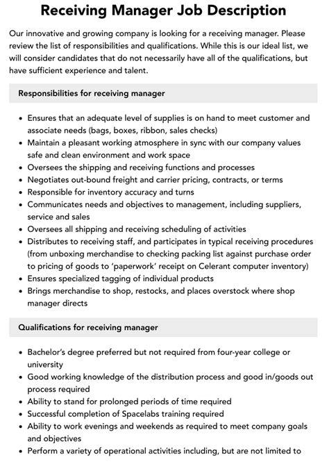 Lowe S Receiving Manager Job Description