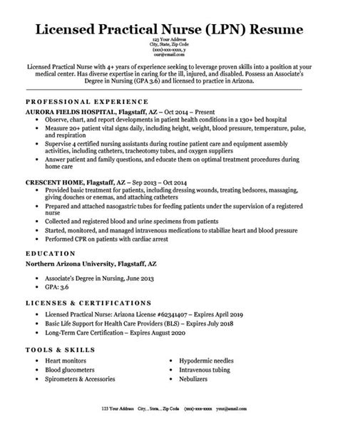 Lpn Nurse Resume Examples | Culinary Resume Cover Letter