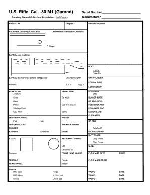 M1 Garand Data Sheet Instructions