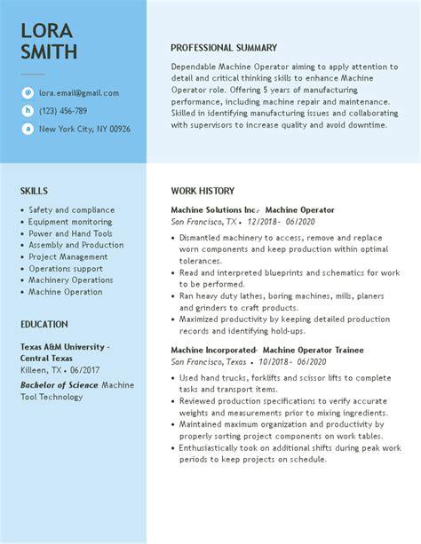 Resume Examples Production Operator Format Curriculum Vitae Yang