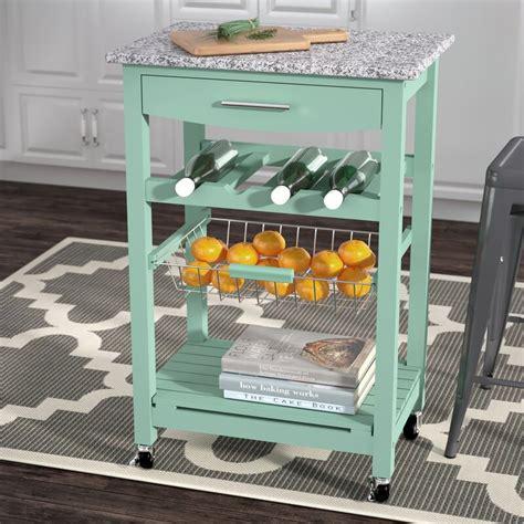 Macy Kitchen Cart with Granite Top