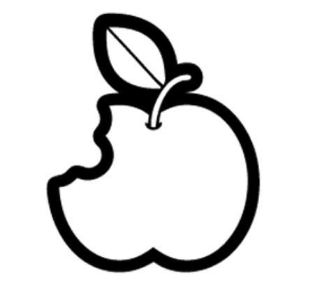 Malvorlage Angebissener Apfel