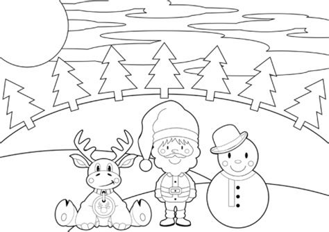 Malvorlage Weihnachtslandschaft