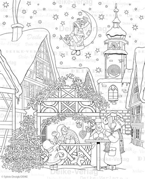 Malvorlage Weihnachtsmarkt