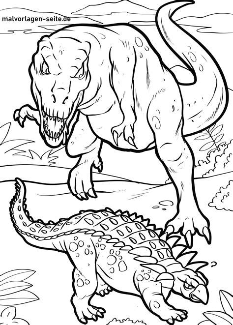 Malvorlagen Dinosaurier Kampf