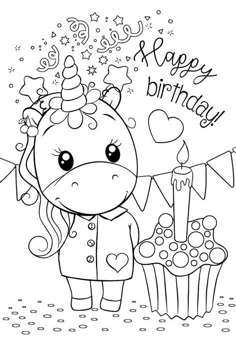 Malvorlagen Gratis Einhorn Happy Birthday