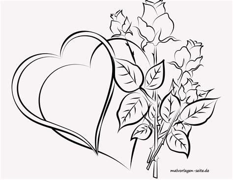 Malvorlagen Rosen Herz