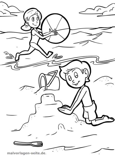 Malvorlagen Urlaub Strand Kinder