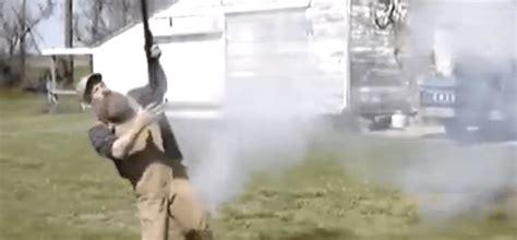 Man Shooting 4 Gauge Shotgun