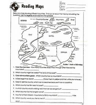 Map Worksheets 3rd Grade