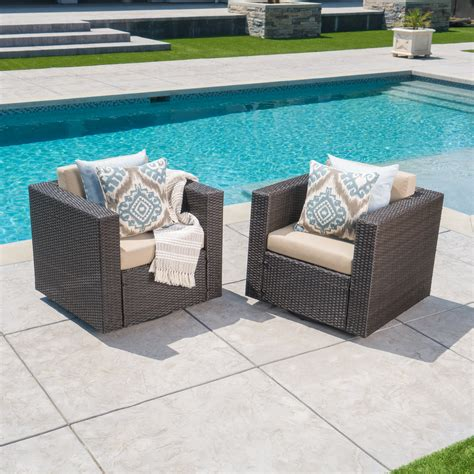 Maspeth Outdoor Woven Patio Chair with Cushion (Set of 2)