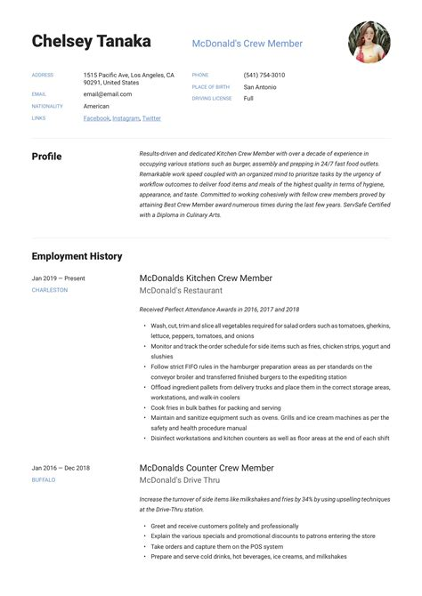 Example Of Resume Objective For Service Crew Help With