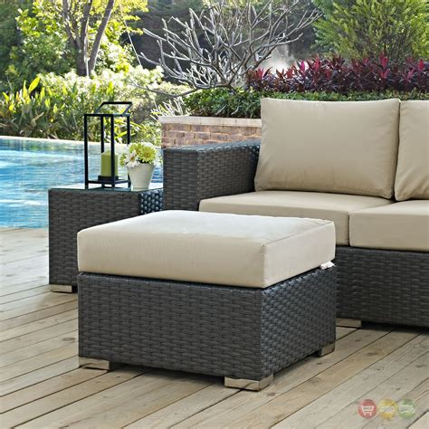 Meeks Outdoor Ottoman with Cushion
